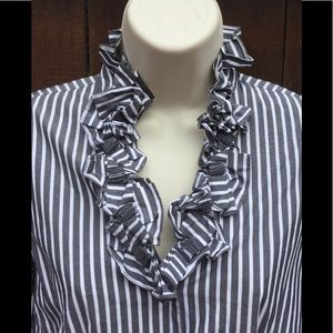 Talbots, Gray&White Striped Button Up Blouse. Sz 2